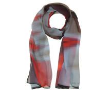 Langer Schal aus bedruckter Seide in rot/hellblau