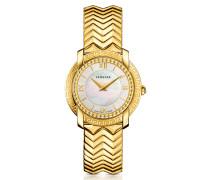 DV25 Damenuhr in Gold mit Zifferblatt aus Perlmutt
