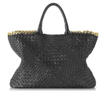 Black Woven Leather Tote w/Chain