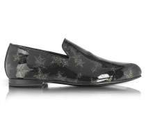 Sloane Black and Gold Glitter Patent Leather Loafer w/Star