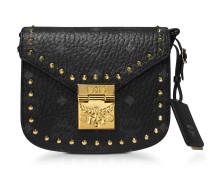 Black Patricia Studded Outline Visetos Mini Shoulder Bag