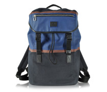 Color Block Cotton w/Leather Trim Men's Backpack