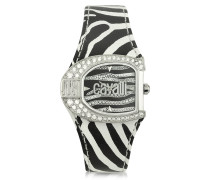 Logo Jc 2H Silver Dial Black Strap Women's Watch