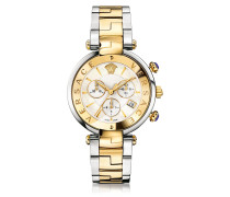 Revive Chrono Stainless Steel and PVD Gold Plated Women's Watch w/White Mother of Pearl Dial