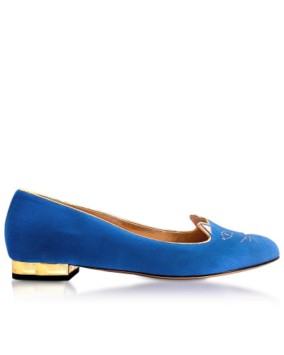 Dark Blue Velvet Kitty Flats