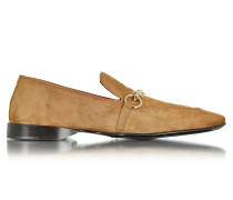Loafer aus Wildleder in cognac