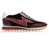 Astor Sneaker aus Leder und Samt in bordeaux mit Glitter