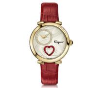 Cuore Ferragamo Gold IP Damenuhr mit Diamanten und Herz in rot mit krokogeprägtem Armband in rot