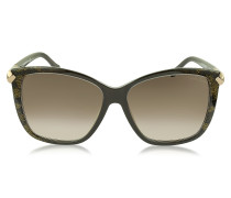 Menkent 902S 50G Sonnenbrille in Cat Eye Form mit Schlangenprint in goldfarben