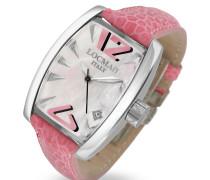 Panorama Damen Armbanduhr in pink mit Datumsanzeige