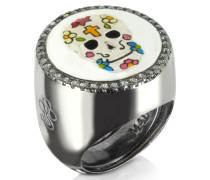 Totenkopf Ring aus beschichtetem Sterlingsilber mit Zirkoniasteinen