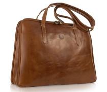 Handgearbeitete Business-Tasche aus echtem italienischem Leder in braun