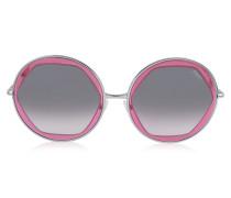 EP36 Damen Sonnenbrille aus durchsichtigem Acetat in großer runder Form