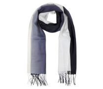 Stola aus Wolle und Kaschmir mi Fransen in weiß/dunkelblau