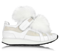Runner White Leather and Fur Sneaker