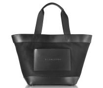 Shopper aus Canvas und Leder in schwarz