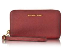 Jet Set Travel Large Flat MF Cherry Saffiano Leather Phone Case/Wallet