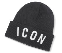 Icon Patch Black Wool Knit Hat