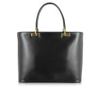 Handtasche aus poliertem schwarzem Leder