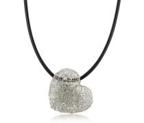 Heart Halskette aus gewobenem Weißgold mit Diamanten