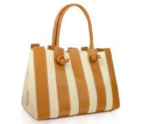 Handtasche aus Baumwollcanvas & italienischem Leder