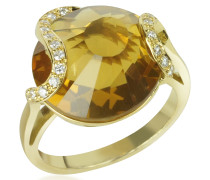Citrine and Diamond 18K Gold Ring