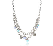 Hollywood Stone Rhodium Over Bronze Chains Necklace w/Hydrothermal Stones