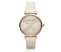 T-Bar Rose Gold-tone Women's Watch w/Ivory Leather Band