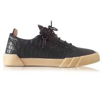 Black Embossed Croco Leather Low Top Men's Sneaker
