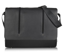 Web Black Leather and Nylon Messenger Bag w/15'' Laptop Compartment