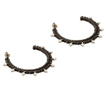 Brass and Woven Leather Large Arrow Earrings in Fumoso