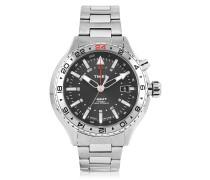 3-GMT Herren Armbanduhr aus Edelstahl in silberfarben