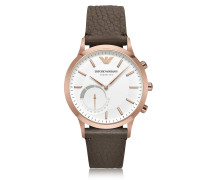 Connected Rose Gold-Tone PVD Stainless Steel Hybrid Men's Smartwatch w/Leather Strap