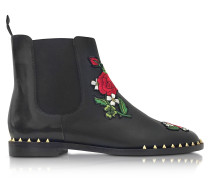Chelsea Black Leather Floral Embroidery Ankle Boot