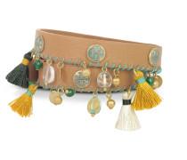 Aged Vachetta Leather and Vintage Gold Brass Tassel Double Wrap Bracelet