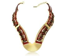 Halskette aus Brass und Leder in gold Burgund und braun