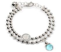 Boulevard Stone Rhodium Over Bronze Double Beadball Chain Bracelet w/Hydrothermal Turquoise Stone
