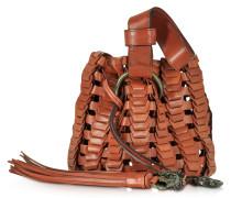 Mini Bucket Bag in Flechtoptik aus Leder