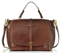 Brown Leather Dual Function Oversized Satchel Bag