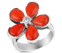 Ring aus 18k Gold mit Blume aus Koralle in rot und Diamant