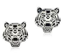 Mini Tiger Ohrringe aus schwarzlackiertem Sterlingsilber
