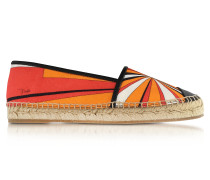 Orange Printed Cotton and Leather Espadrilles