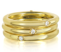 Triple Secret Ring aus 9k Gold mit Diamanten