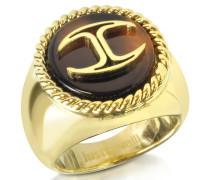 Ring aus vergoldetem Metall und Harz mit Logo