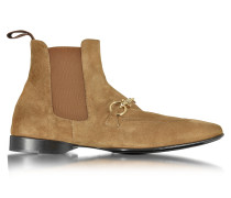 Low Boots aus Wildleder in cognac