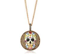 Totenkopf Halskette aus Sterlingsilber mit Rhodium beschichtet und Zirkonia