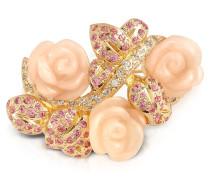 Pinke Rose - Brosche mit Swarovskisteinen