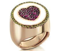 Ring aus rotvergoldetem Sterlingsilber mit Herz aus Zirkoniasteinen