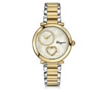 Cuore Ferragamo Damenuhr aus Edelstahl und Gold IP Diamanten und Herzschlag