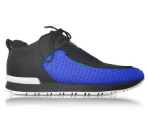 Doda Black Leather and Blue Quilted Neoprene Sneaker